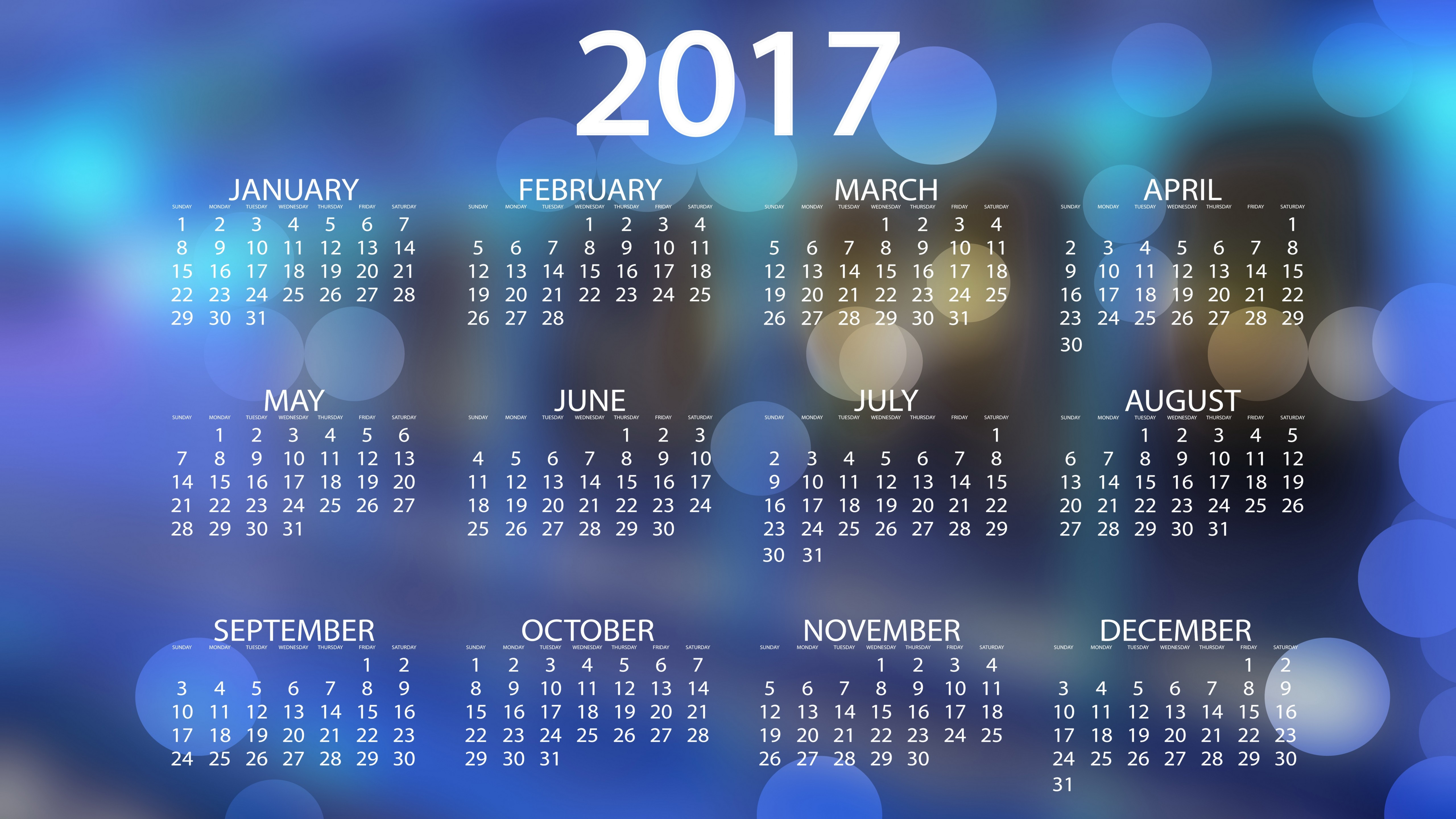 2017 calendar wallpaper 4k 5k background