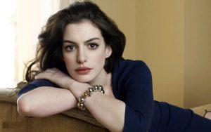 Anne Hathaway in Blue Dress Wallpaper