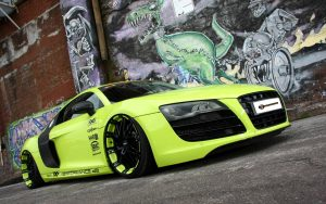 Audi R8 Green Wallpaper Background