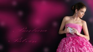 Barbara Palvin in Pink Dress Wallpaper