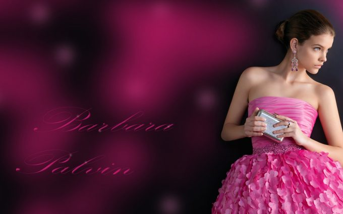 barbara palvin in pink dress wallpaper