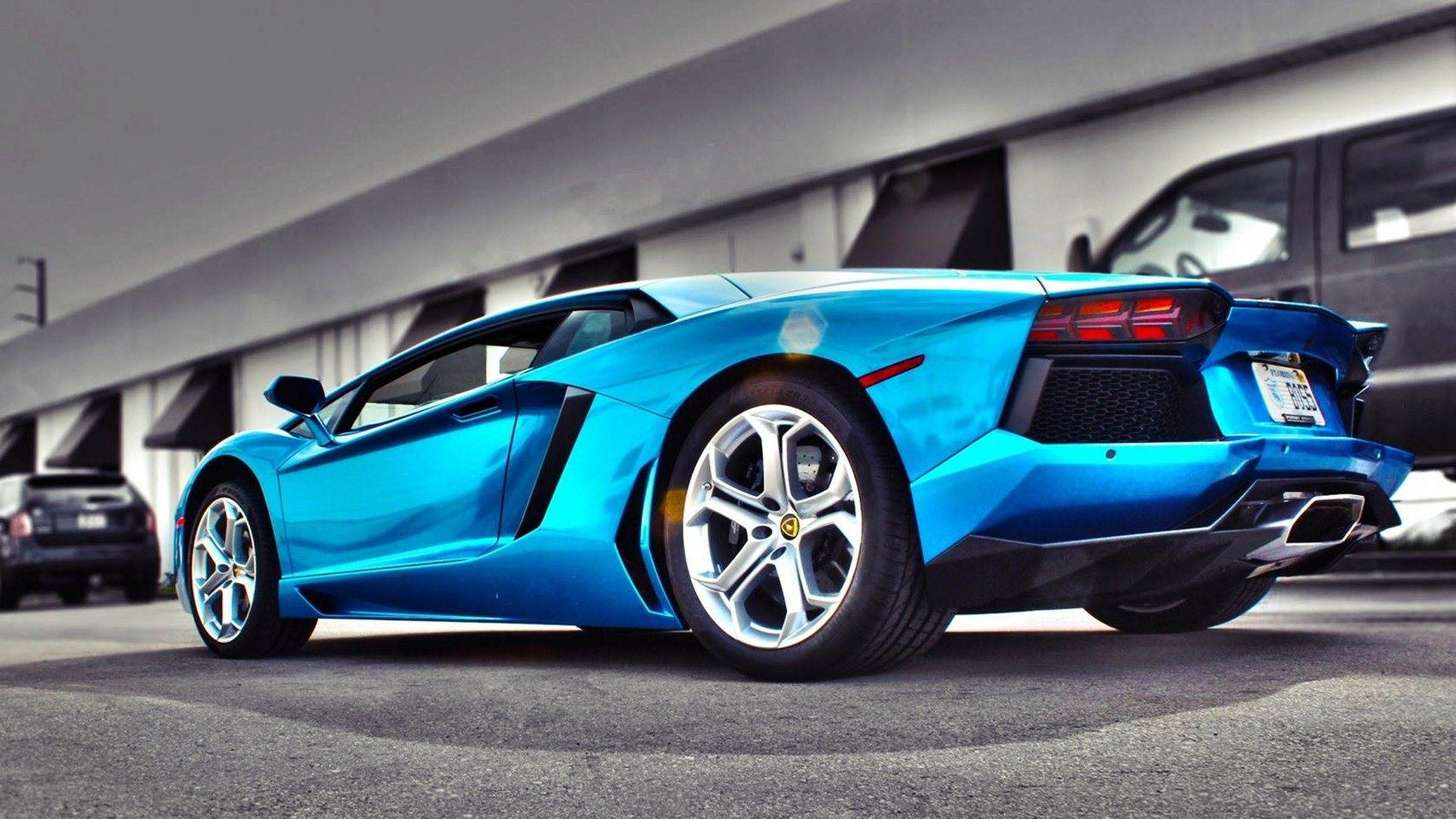 blue lamborghini aventador wallpaper background