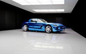 Blue SLS AMG Wallpaper Background