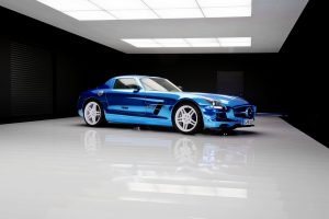 blue sls amg wallpaper background