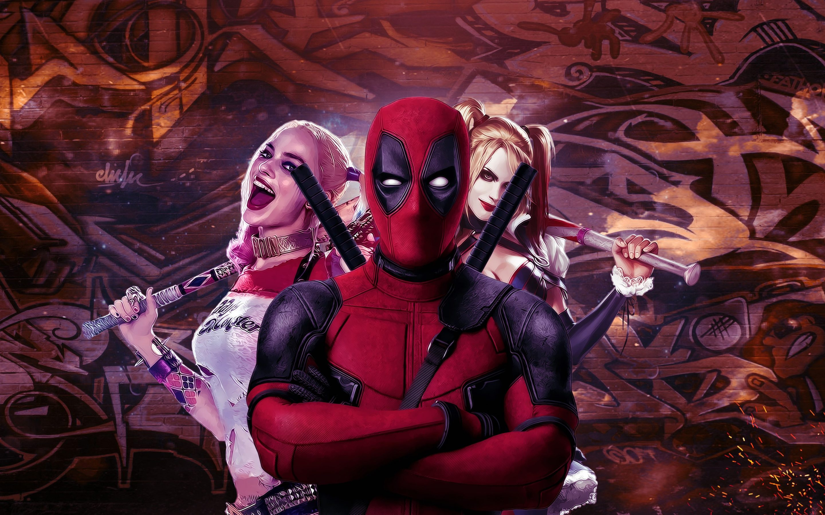 Deadpool And Harley Quinn 4k Wallpaper Hd Wallpaper Background