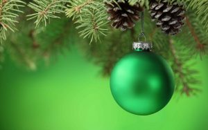 Green Christmas Ornaments Wallpaper