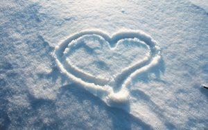 Heart on Ice Wallpaper Background