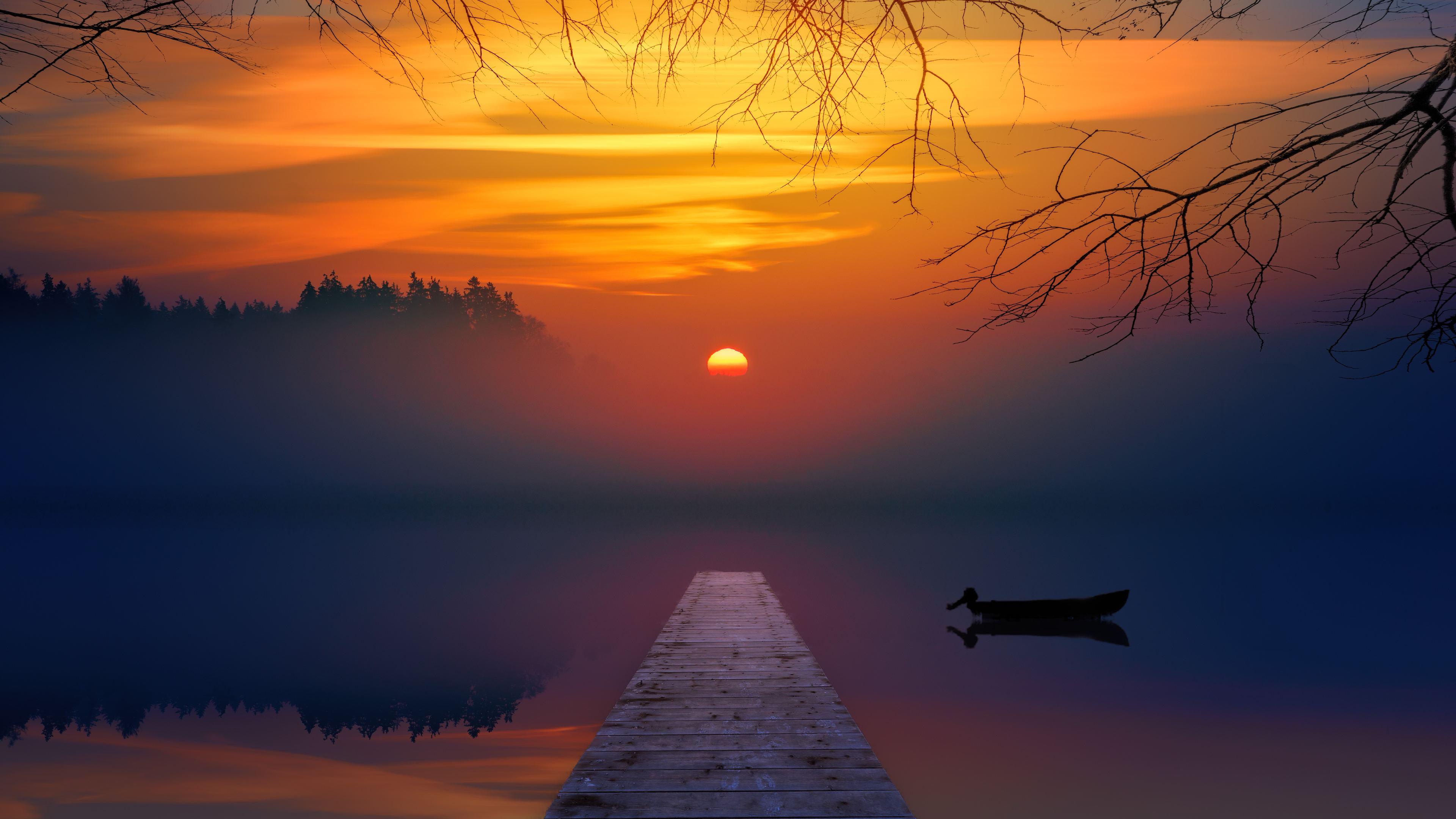 lake sunset 4k