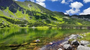 Lake Under Green Mountain Wallpaper