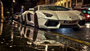 Lamborghini in Rain Wallpaper Background