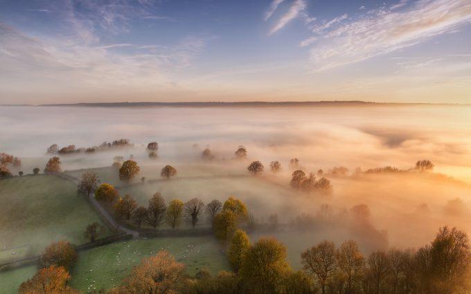morning fog 4k wallpaper background