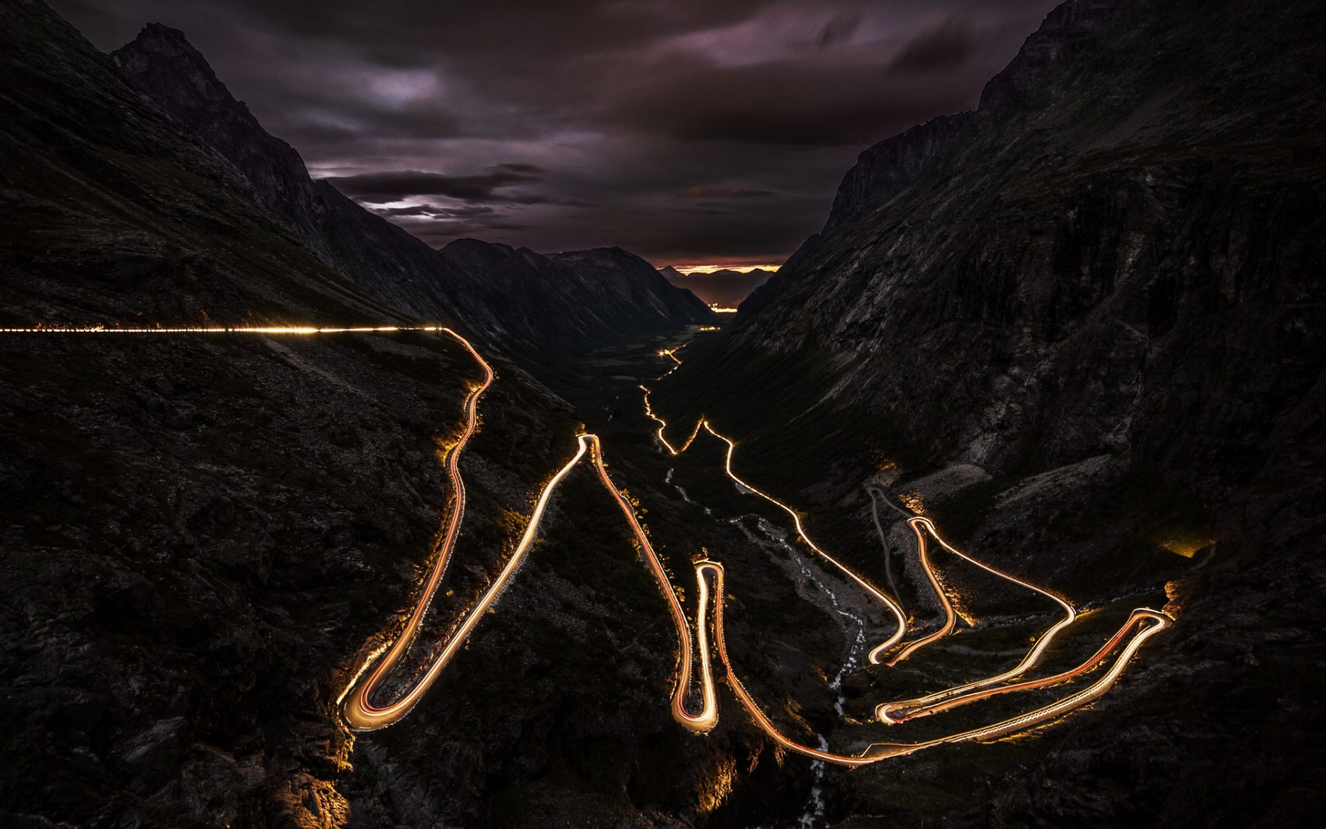 Mountain Road During Night Wallpaper