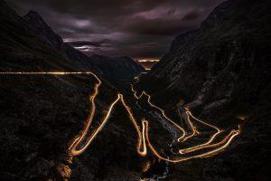Mountain Road During Night Wallpaper