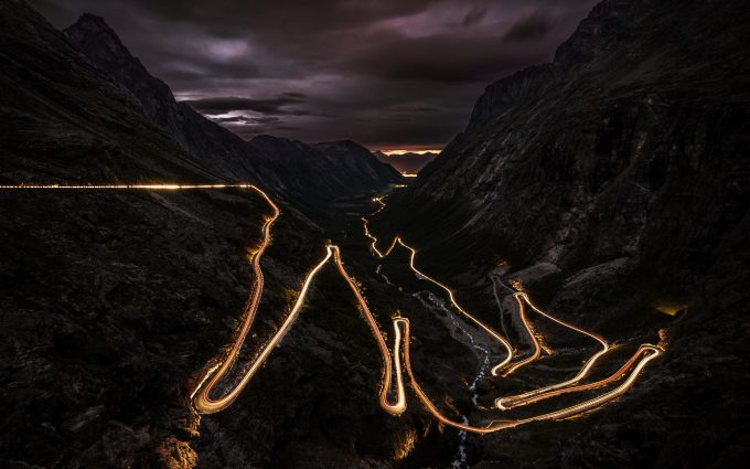 mountain road during night wallpaper background