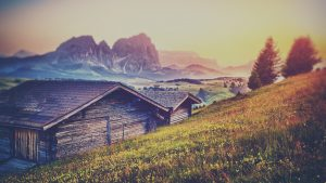 Mountain Wooden House Wallpaper