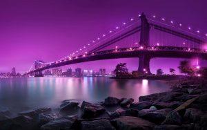 Purple Lights on Bridge Wallpaper