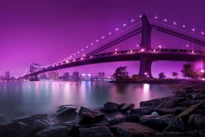 purple lights on bridge wallpaper background