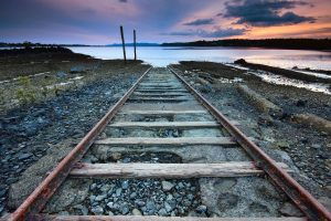 rail track to sea wallpaper background