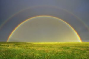 rainbow over the grassland wallpaper background, wallpapers