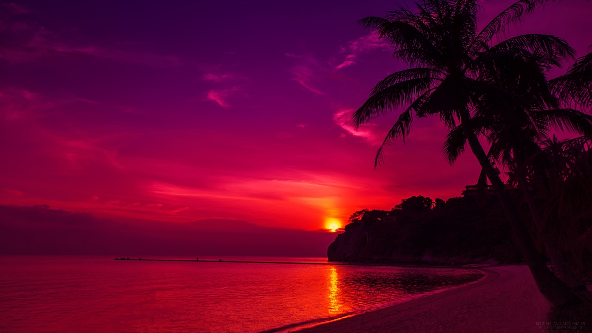 red sunset wallpaper background