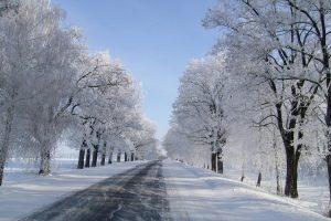 road in winter wallpaper background