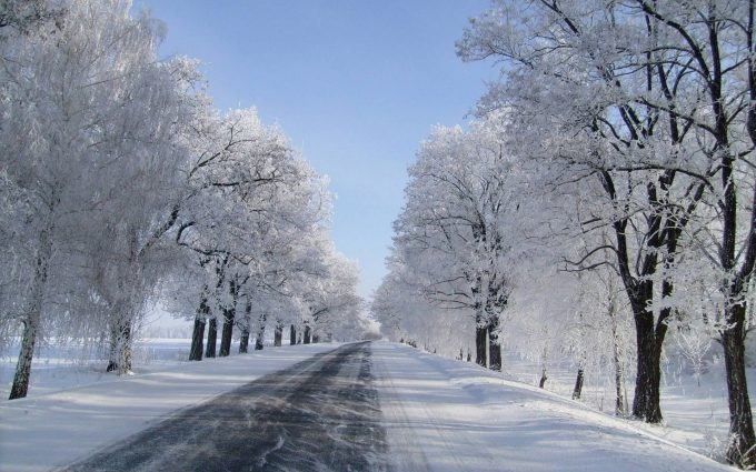 road in winter wallpaper background