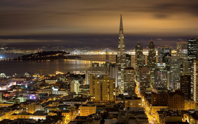 san francisco night view wallpaper background