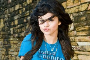selena gomez in blue shirt wallpaper