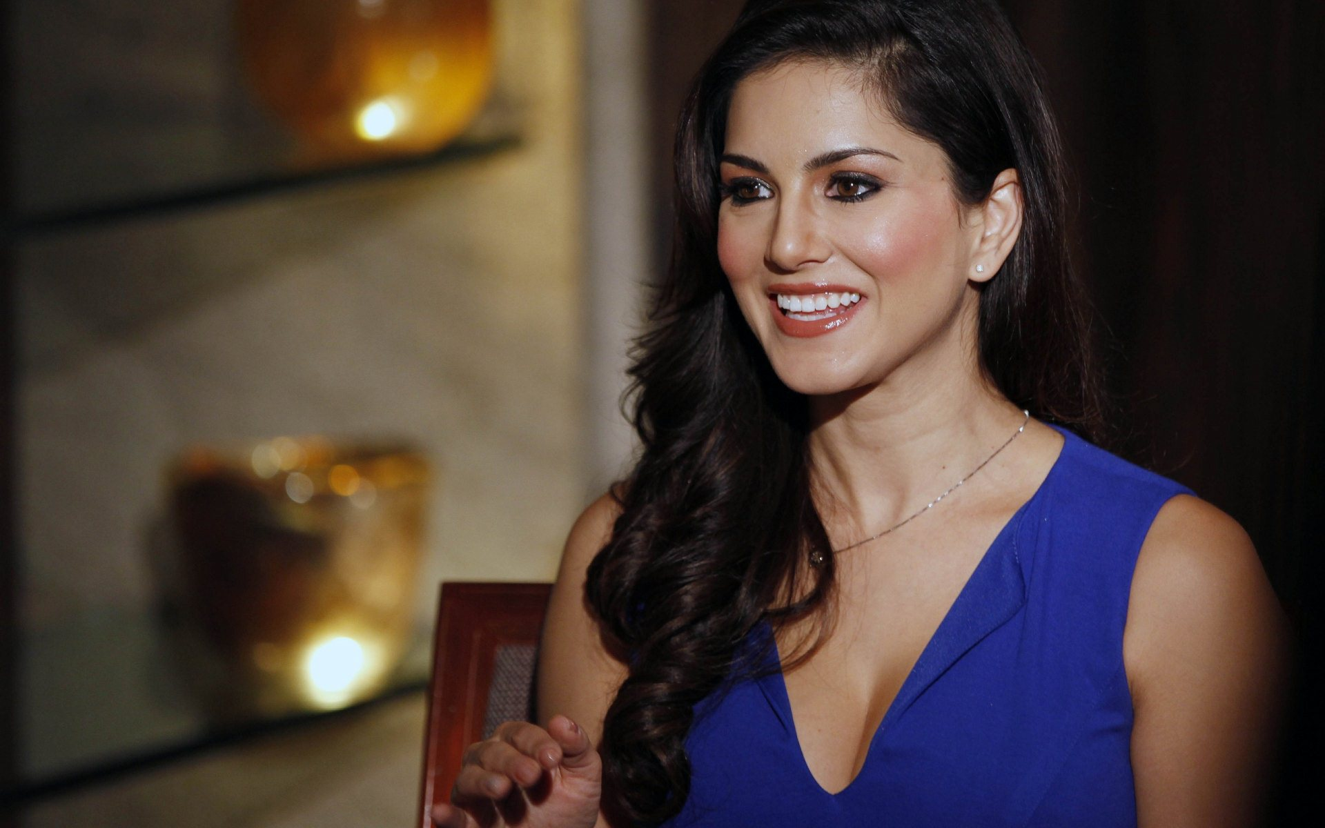 sunny leone in blue dress wallpaper | hd wallpaper background
