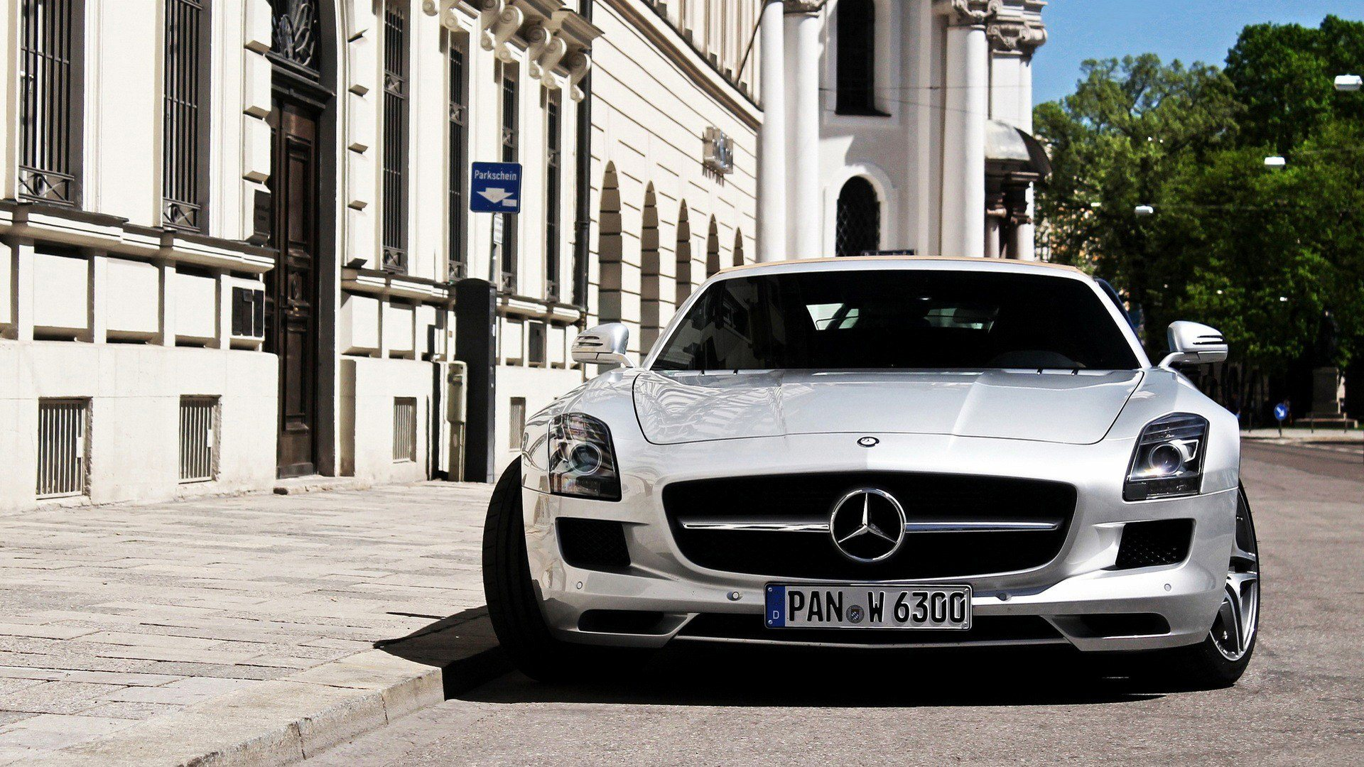 white sls amg wallpaper background