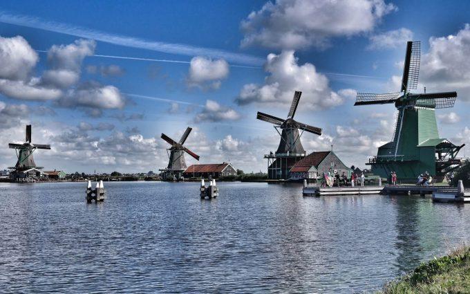 wooden windmills wallpaper background